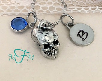 Skull Head Charm Necklace, Personalized Necklace, Silver Pewter Skull Charm, Swarovski birthstone, Steampunk Necklace