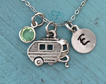 Camping Trailer Charm Necklace, Personalized Necklace, Silver Pewter Camping Charm, Custom Necklace, Swarovski Crystal birthstone, monogram
