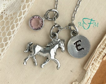 Horse Charm Necklace, Personalized Necklace, Silver Pewter Horse Charm, Custom Necklace, Swarovski Crystal birthstone, monogram