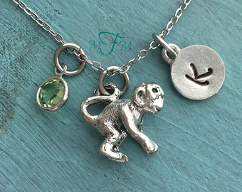 Monkey Charm Necklace, Personalized Necklace, Silver Pewter Monkey Charm, Custom Necklace, Swarovski Crystal birthstone, monogram