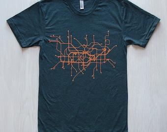 Licensed TFL™104KB Kids Unisex London Undergound™ Map Print T Shirt Black