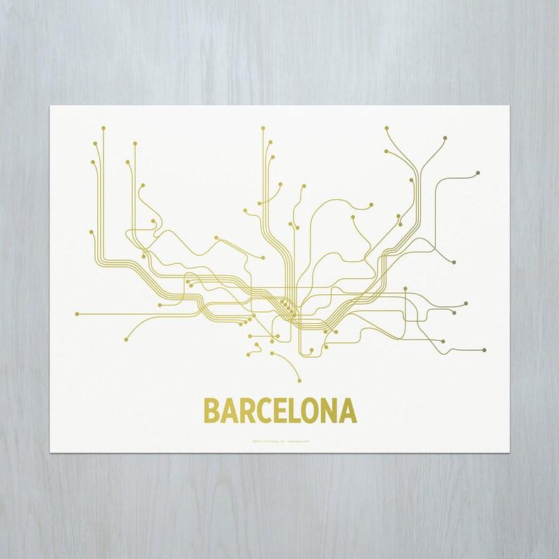 Barcelona Screen Print  White/Gold image 0