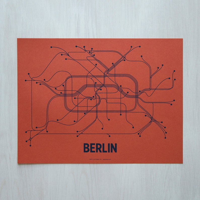 Berlin Lineposter Screen Print  Coral/Navy image 0