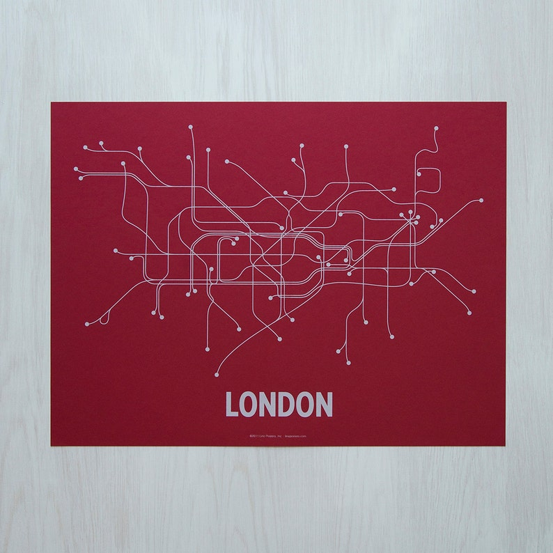 London Screen Print Red/Light blue image 0