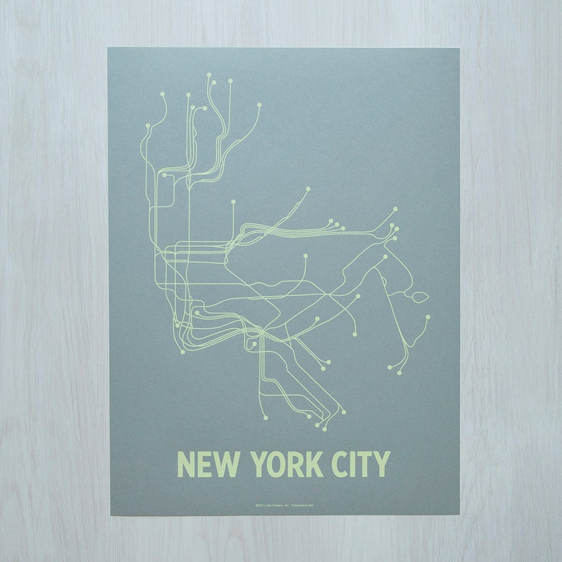 NYC Screen Print  Steel Blue/Yellow image 0
