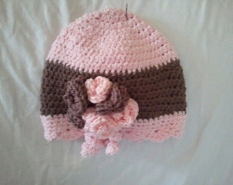Pink and brown beanie
