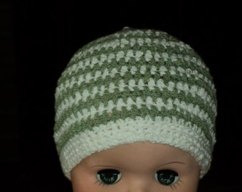 Green and white stripes for your baby boy or girl