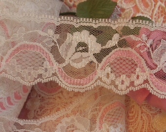 5 yards - 2 Inches  Wide Chantilly lace - Cream Roses and Pink Ribbon - Flat Lace, Trim,
