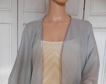 Silver chiffon kimono/jacket/wrap/cover-up/bolero with satin edging