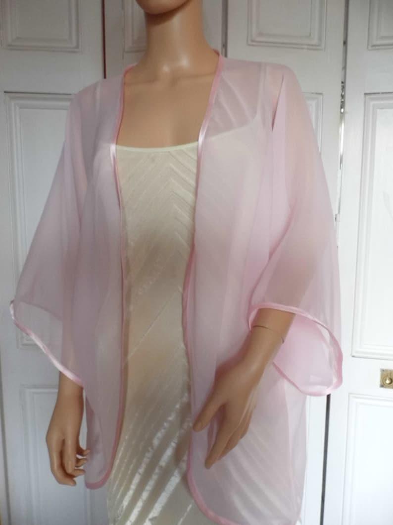 cc66a4fb9b1 Pale pink chiffon kimono jacket wrap cover-up bolero with