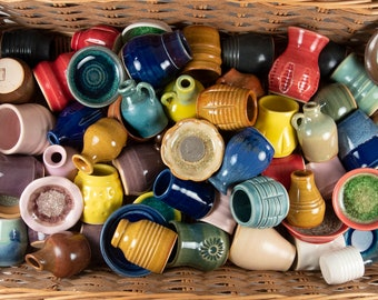 Miniature Handmade Pottery | WHOLESALE Lot of 20 | tiny small pots - bowls | Wedding Favors | Fairy Gardening | DIY Projects | FREE Shipping