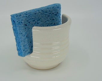 Sponge / Scrubber Holder with Eggshell White glaze on carved surface by Seiz Art Pottery  - FREE Shipping on all orders