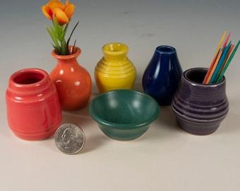 Miniature Pottery Rainbow Vases - LGBTQ Pride  set of 6 - bud vases / toothpick holders / tiny pots  - FREE Shipping on all orders