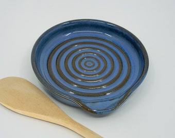 Spoon Rest - Handcrafted Stoneware with Soft Blue glaze and Circular design - by Seiz Art Pottery  - FREE Shipping on all Seiz Pottery items