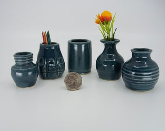 Miniature Pottery Vases - Colorful set of 5  Glazed - bud vases / toothpick holders / tiny pots  - FREE Shipping on all Art Pottery