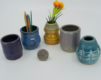 Miniature Pottery Vases - Colorful set of 5 - bud vases / toothpick holders / tiny pots  - FREE Shipping on all Seiz Art Pottery orders