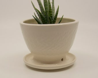 Succulent Planter with attached Saucer and drainage hole | Small Flower Plant Pottery | Handcrafted Wheel Thrown Stoneware - FREE Shipping