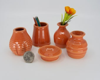 Miniature Pottery Vases - Colorful set of 5 Tiger Lily Glaze - bud vases / toothpick holders / tiny pots  - FREE Shipping on all Art Pottery