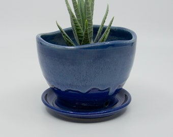 Succulent Planter with attached Saucer and drainage hole | Small Plant - Herb Pottery | Handcrafted Wheel Thrown Stoneware - FREE Shipping