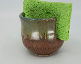 Sponge / Scrubby Holder with flowing golden brown glaze by Seiz Art Pottery  - FREE Shipping on all handmade pottery orders