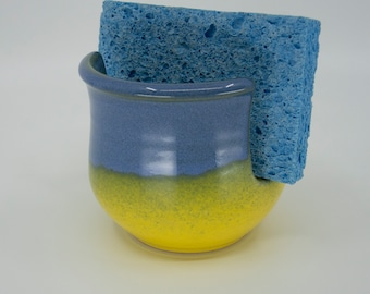 Kitchen Sponge / Scrubber Holder with Buttercup Yellow and Blended Blue glaze on Seiz Art Pottery  - FREE Shipping on all pottery orders
