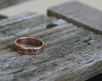 Handmade Hammered Copper Chi Rho Ring