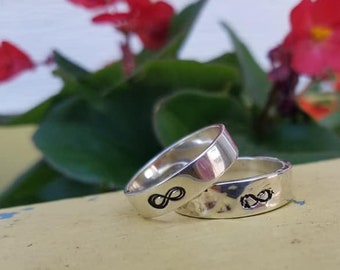 Infinity Symbol, Silver Band, Hammered or Smooth Ring