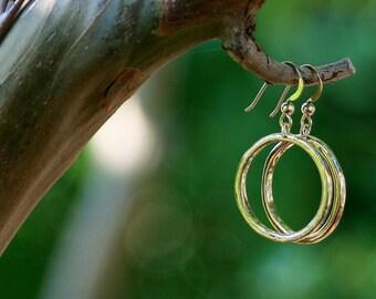 Handmade Hammered 14k Gold Hoop Earrings