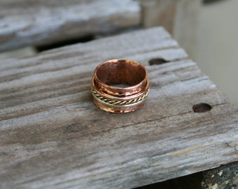 Handmade Triple Spinner Ring with Silver, Copper and Brass