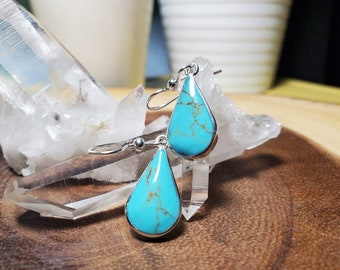 Handmade Sterling Silver and Turquoise Pear Earrings