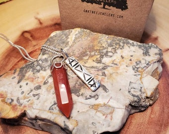 """Handmade Sterling Silver Elements Pendant w/ Carnelian Crystal and 18"""" Silver Curb Chain*"""