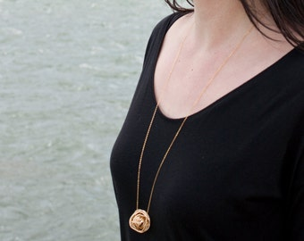 Large Gold Plated Wire Woven Ball Necklace - Minimal Statement Jewelry