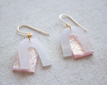 Acrylic Clear Drop Earrings With Pink And Rose Gold Confetti Sparkles - Shrink Plastic Statement Earrings - Geometric Minimal Jewelry
