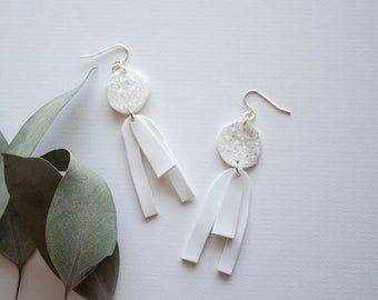 Acrylic White Drop Earrings With Rainbow Confetti Sparkles - Shrink Plastic Statement Earrings