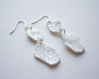 Acrylic White Drop Earrings With Silver Confetti Sparkles - Shrink Plastic Statement Earrings - Geometric Minimal Jewelry