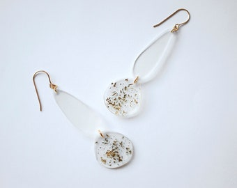 Acrylic Clear Drop Earrings With Gold Confetti Sparkles - Shrink Plastic Statement Earrings