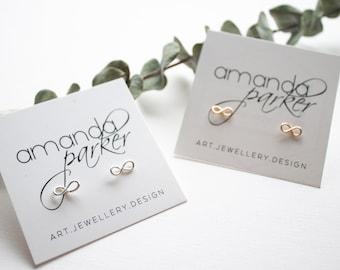 Infinity Studs - Precious Metal Wire Earrings - Hand Formed Stud Earrings - Rose Gold, Yellow Gold, Sterling Silver.