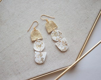 Acrylic White Drop Earrings With Gold Confetti Sparkles - Shrink Plastic Statement Earrings - Geometric Minimal Jewelry