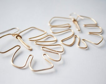 14k Gold Wire Monstera Leaf Earrings - Hand Formed Wire Nature Jewelry - Tropical Leaf Earrings