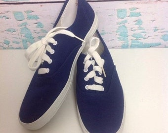 b9669eaa232 SALE Vintage 80s 90s Keds Navy Blue Canvas Sneakers Size 8.5 Skater Skate Womens  Shoes Preppy Vtg 1980s 1990s