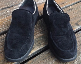 fc636be6b45 Vintage 80s 90s Hush Puppies Womens Size 8.5 Black Suede Slip On Loafers  Dress Shoes Ladies Vtg 1980s 1990s