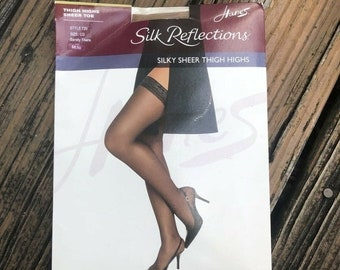 Vintage hanes lace top barely black nude thigh high stockings  size cd