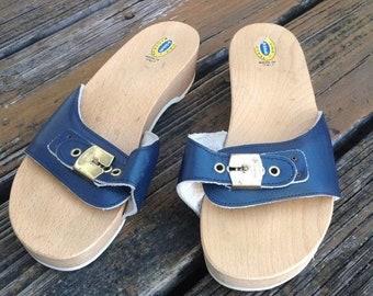 bb62b2914d8 SALE Vintage Dr Scholls Navy Blue Blue Wood Leather Sandals Size 7 8 Slip  On Womens Shoes 70s 80s Vtg 1970s 1980s Slides Mules