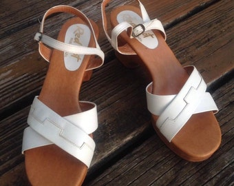 70eb84a0a Vintage 60s 70s Red Hot White Leather Platform Sandals Size 8.5 Womens Open  Toes Shoes Wood Heels Brazil Ankle Strap Buckle Vtg 1960s 1970s