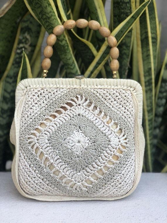 Vintage Beige Natural Crochet Lace Bag Purse Handb