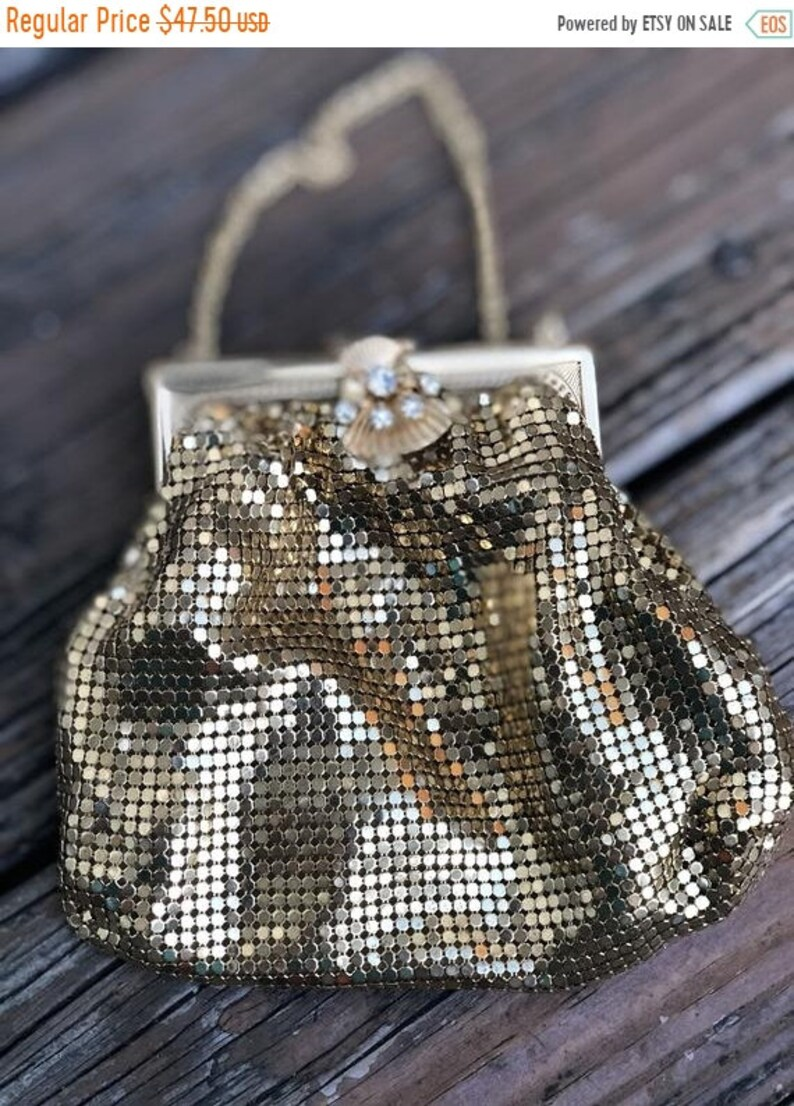 b56206a2a7 Sale Vintage 70s 80s Gold Metal Mesh Rhinestone Jeweled Clasp   Etsy