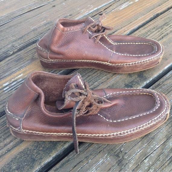 Vintage Ralph Lauren Distressed Brown Leather Moc… - image 2