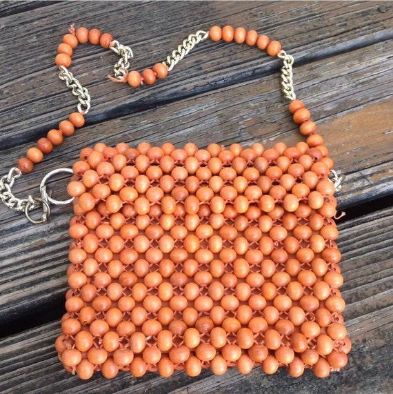 Vintage Orange Wood Beaded Woven Purse Handbag Bag
