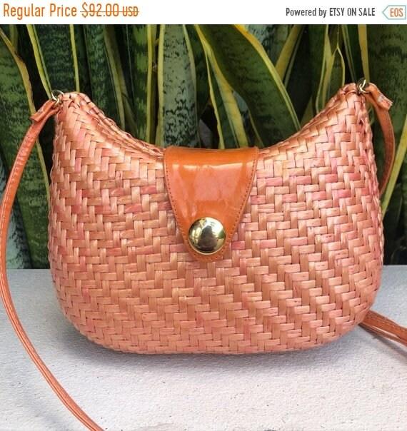 SALE Vintage Susan Gail Orange Peach Wicker Purse