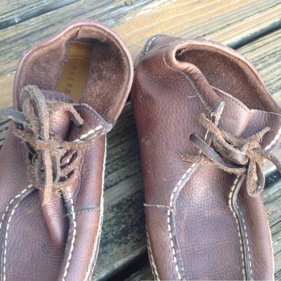Vintage Ralph Lauren Distressed Brown Leather Moc… - image 5